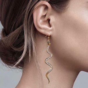 2/$20! Gold/Crystal Serpent Drop Earrings